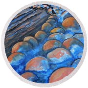 Stones By The Sea Round Beach Towel