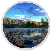 Stones By The Similkameen Round Beach Towel