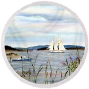 Stonington Harbor, Maine Round Beach Towel