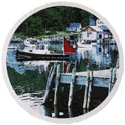 Stonington Harbor With Pier Maine Coast Round Beach Towel