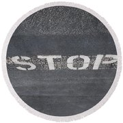 Stop Round Beach Towel