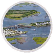 Stopping Traffic Topsail Island Round Beach Towel