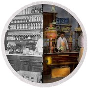 Store - In A General Store 1917 Side By Side Round Beach Towel