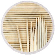 Stored Wooden Toothpicks Round Beach Towel