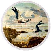 Storks II Round Beach Towel by Henryk Gorecki
