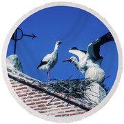 Storks Of Segovia Round Beach Towel
