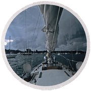 Storm At Put-in-bay Round Beach Towel