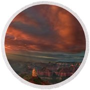 Storm At Sunrise Point Imperial Grand Canyon National Park Arizona Round Beach Towel