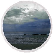 Storm At The Beach Round Beach Towel