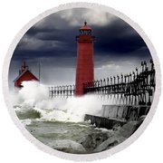 Storm At The Grand Haven Lighthouse Round Beach Towel