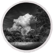 Storm Beyond The Meadow Round Beach Towel