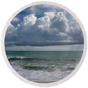 Storm Clouds Above The Atlantic Ocean Round Beach Towel
