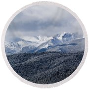 Storm Clouds Receding And Fresh Snow On Pikes Peak Round Beach Towel