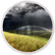 Storm Clouds And Rainbow Over Chaplin Lake Marshes Round Beach Towel