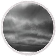 Storm Clouds Approaching Boat On Northern Saskatchewan Lake  Round Beach Towel
