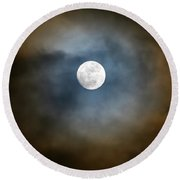 Storm Clouds Breaking For The Full Moon Round Beach Towel