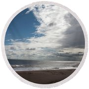 Storm Clouds Clearing The Beach With Wind Farm In The Background Skegness Lincolnshire England Round Beach Towel