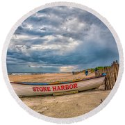 Storm Clouds In Stone Harbor Round Beach Towel