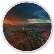 Storm Clouds North Rim Grand Canyon Arizona Round Beach Towel by Dave Welling