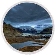 Storm Clouds Over A Glacier - Iceland Round Beach Towel