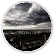 Storm Clouds Over Beached Shipwreck Round Beach Towel