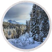 Storm Clouds Over Bow Valley Parkway Round Beach Towel