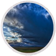 Storm Clouds Over Farmland #2 - Iceland Round Beach Towel
