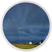 Storm Clouds Over Farmland - Iceland Round Beach Towel