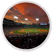 Storm Clouds Over Fenway Park Round Beach Towel