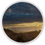 Storm Clouds Over Happy Valley During Sunset Round Beach Towel