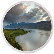 Storm Clouds Over Hood River Round Beach Towel
