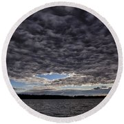 Storm Clouds Over Long Lake Round Beach Towel