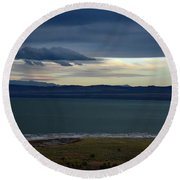 Storm Clouds Over Mono Lake Round Beach Towel