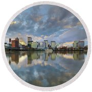 Storm Clouds Over Portland Skyline During Sunset Round Beach Towel
