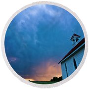 Storm Clouds Over Saskatchewan Country Church Round Beach Towel