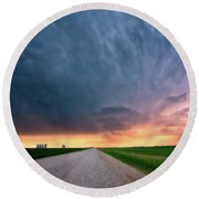 Storm Clouds Over Saskatchewan Country Road Round Beach Towel