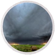 Storm Clouds Over Saskatchewan Round Beach Towel