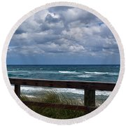 Storm Clouds Over The Beach Round Beach Towel