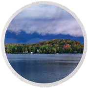 Storm Clouds Over The Lake Of Bays Round Beach Towel