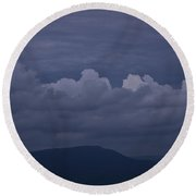 Storm Clouds Over The Valley Round Beach Towel