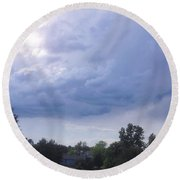 Storm Clouds Passing Through Round Beach Towel
