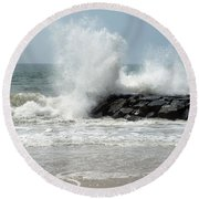 The Ocean's Strength Round Beach Towel
