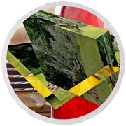 Storm Damage And Tail Light As Art Round Beach Towel