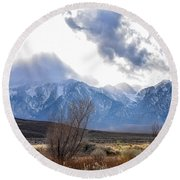 Storm Descending From The Sierras Round Beach Towel