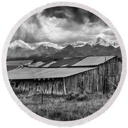 Storm In B And W Round Beach Towel