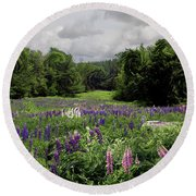 Storm In The Lupine Round Beach Towel