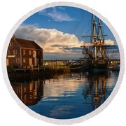 Storm Leaves Reflection On Salem Round Beach Towel