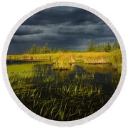 Storm Light At Patten Lake #1 Round Beach Towel