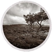 Storm Moving In - Sepia Round Beach Towel