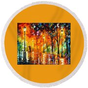 Storm Of Emotions - Palette Knife Oil Painting On Canvas By Leonid Afremov Round Beach Towel